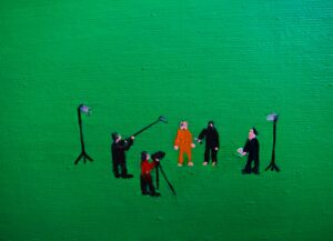 L.S. Lowry gets an internship @ Dreamworks & paints the town C.G.I. Militant Green // Wood, Cardboard, Chicken Wire, Acrylic Paint, Canvas, Hinges, Lock & Bolt // 100 x 70 cm // 2016