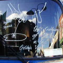 Curdled Culture // Acrylic Paint on Windscreen // 2005