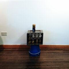 Donald Judd & Sons Mini Bush Bar // Beer Crate, Plastic Buckets, Tie Wraps, Cans of Dutch Gold // 55 x 50 x 40 cm // 2006