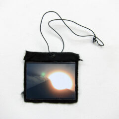 Sun Thing Glare Flare (Meditated Media Medals) // Laminated Digital Print, Felt, Eyelet, Glue, Wire // 8 x 10 cm // 2016