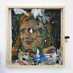 Sean Keating Engorges Liberty Caps and Paints Prophetic Portraits - Samantha Power Makes an Appearance at the I.C.C. (Please feel Free to throw the Rubbish Bag at the Painting) // Wood, Chicken Wire, Rubbish, Lock & Bolt, Bin Bag, rope, Metal Hook, Hinges, Canvas, Acrylic Paint, Glitter // 130 x 130 x 12 cm // 2016
