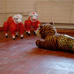 G.B. Shaw's Fabian Farm // Tiger Toy, Leopard Bin, Inflatable Sex Toys, Acrylic // 160 x 50 x 100 cm // 2006