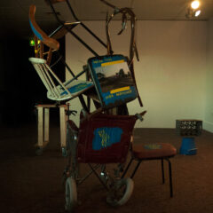 Ikea Barricade to Babel // Chairs, Tie Wraps, Tape, Acrylic Paint, Digital Print // 220 x 100 x 100 cm // 2006