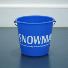 SNOWMAN from the Michael Craig Martin's Christmas Decoration Series // Plastic Bucket, Carrot, Coal, Water, Vinyl Text // 40 x 30 x 30 cm // 2005