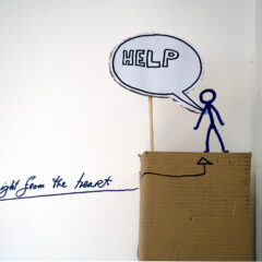 The Failing Man Steps up to the Task // Pipe Cleaners, Cardboard, wood, Paper, Permanent Marker // 20 x 160 x 20 cm // 2007