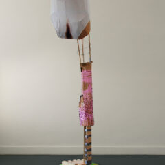The Ballad of Reading Theory // Wood, Bamboo, Screws, Wire, Tape, Cardboard, Aluminium Foil, Electric Lights & Fittings, Vinyl, Acrylic Paint, Glue, XXL Y Fronts // 230 x 40 x 40 cm // 2005