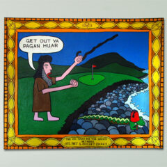 Gentrification of the Drumlins: St. Pat & His Lawfully Long Arms (after Orpen) // Acrylic on Board // 100 x 120 cm // 2004