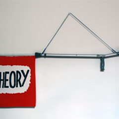 THEORY CRUTCH (1)The Weapon of Choice, that makes mediocre art read so fine (2) Liam Gillick lets off a few theoretical loaded blank warning shots over our heads (3) A crutch to hit Liam Gillick over the head with // Crutch, Wood, Cord, Card, Acrylic Paint // 150 x 80 x 5 cm // 2005