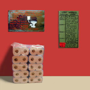 The Highest Bidder gets the Jacks Roll Free // Oil on Board, Marker on Board, 24 Pack of Toilet Paper // 38 x 31 cm // 2001