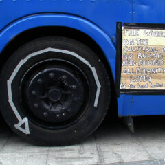 The Wheels on the Cultural Bus Go Round & Round All Eternity Long // Cardboard, Gaffer Tape, Paint Marker // 2005