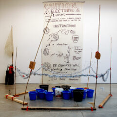 Charity Fluid Reservoir // Electric Fence System, Wood, Bamboo, Cardboard, Tinsel, Steel & Nylon Wire, Plastic Pipe, Tape, Tie Wraps, Buckets // 250 x 220 x 250 cm// 2006